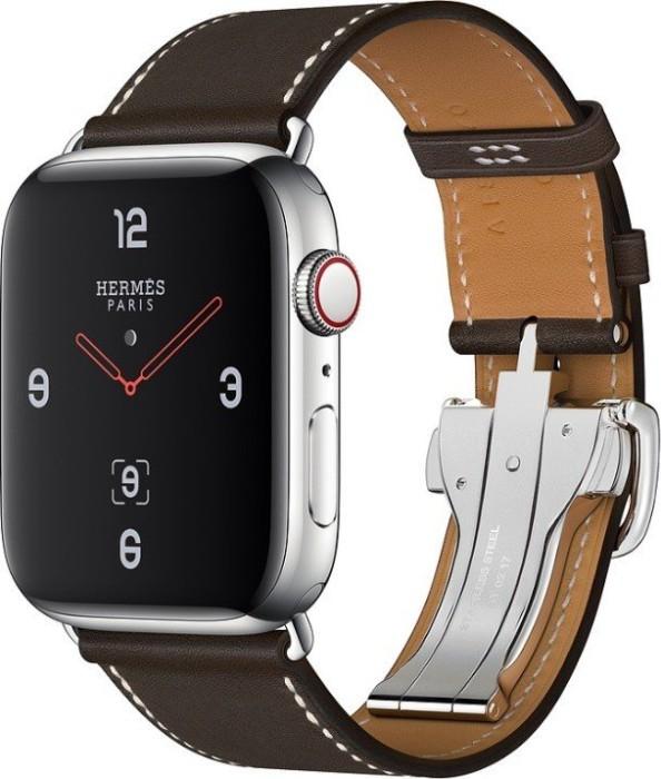 Apple Watch Hermès Series 4 (GPS + Cellular) Edelstahl 44mm silber mit Single Tour Barenia Lederarmband mit Faltschließe ébène