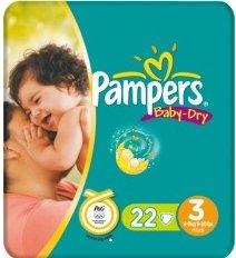 Pampers Baby-Dry Gr.3 Einwegwindel, 4-9kg, 22 Stück
