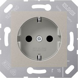 Jung series CD SCHUKO socket metal 16A 250V, platinum-grey (CD 5120 BF PG)