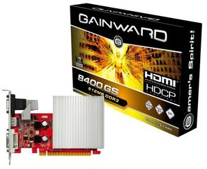 Gainward GeForce 8400 GS passive, 512MB DDR3, VGA, DVI, HDMI (1954)