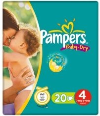 Pampers Baby-Dry Gr.4 Einwegwindel, 7-18kg, 20 Stück