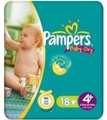 Pampers Baby-Dry Gr.4+ Einwegwindel, 9-20kg, 18 Stück