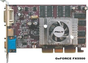 Palit GeForceFX 5500/5200, GeForceFX 5200, 256MB DDR, VGA, DVI, TV-out, AGP (NA-55000+TD21)