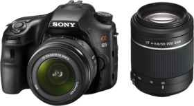 Sony Alpha 65 schwarz mit Objektiv AF 18-55mm DT und 55-200mm DT (SLT-A65VX)