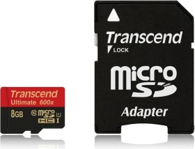 Transcend Ultimate R90/W25 microSDHC 8GB kit, UHS-I, Class 10 (TS8GUSDHC10U1)