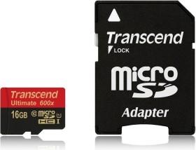 Transcend Ultimate R90/W45 microSDHC 16GB Kit, UHS-I, Class 10 (TS16GUSDHC10U1)