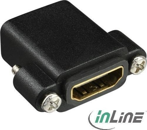 InLine HDMI adapter, socket on socket, gold-plated with thread (17600N)