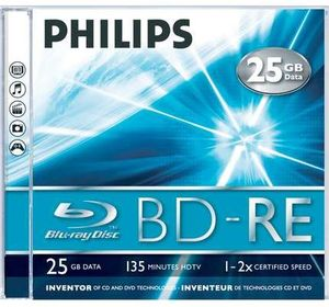 Philips BD-RE 25GB 2x, 1er Jewelcase (BE2S2J01F)