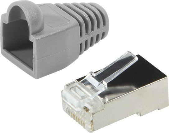 LogiLink MP0011 RJ-45 Cat.5e modular plug with strain relief hood, attachable, shielded, 100-pack
