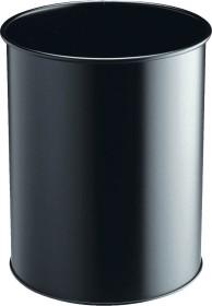 Durable metal wastepaper basket circular, black (330101)