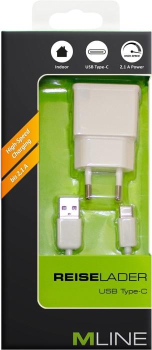 MLine Reiseladegerät Single USB 2.1A mit USB-C-Kabel weiß (HUSBC3502WH)