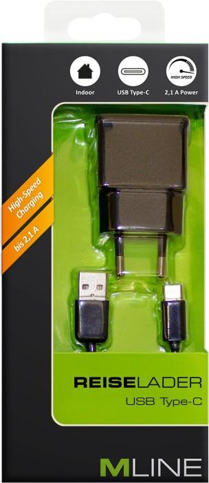 MLine Reiseladegerät Single USB 2.1A mit USB-C-Kabel schwarz (HUSBC3502BK)