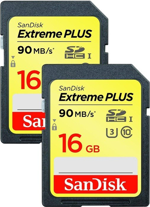 SanDisk Extreme PLUS R90/W60 SDHC 16GB, UHS-I U3, Class 10, 2er-Pack (SDSDXSF-016G-GNCI2)