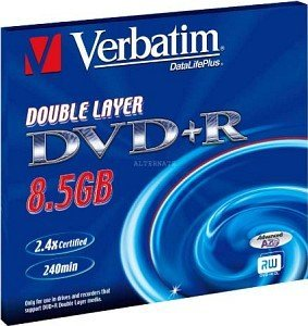 Verbatim DVD+R 8.5GB DL 2.4x, 1-pack Jewelcase (43459)
