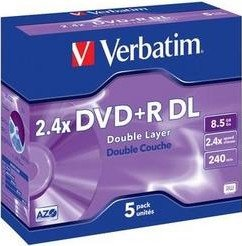 Verbatim DVD+R 8.5GB DL 2.4x, 5er Jewelcase (43460)
