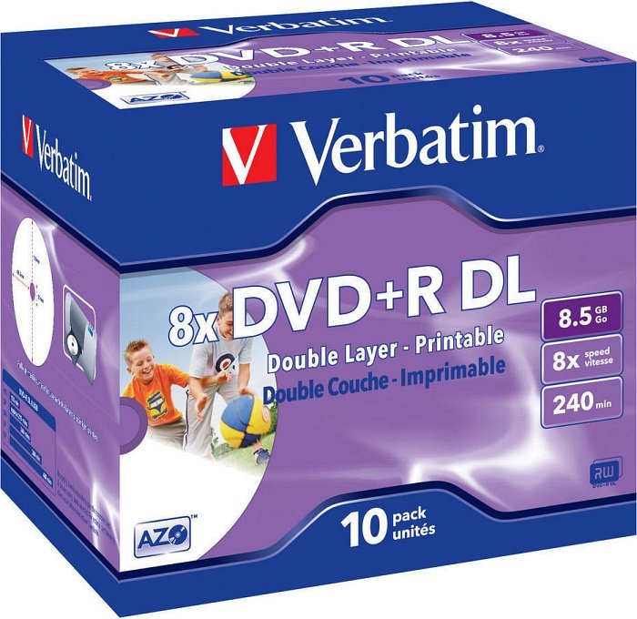 Verbatim DVD+R 8.5GB DL 8x, 10er Jewelcase Wide Inkjet printable (43665)