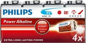 Philips PowerLife 9V E-Block 6LR61, Alkali, 9V, 4er-Pack Shrink (6LR61P4F/10)