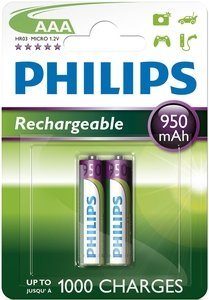 Philips MultiLife Micro AAA NiMH rechargeable battery 950mAh, 2-pack (R03B2A100/10)