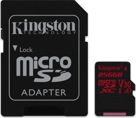 Kingston Canvas React R100/W80 microSDXC 256GB Kit, UHS-I U3, A1, Class 10 (SDCR/256GB)