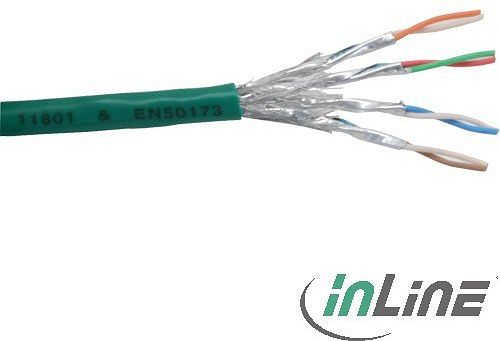 InLine Network Cable installation cable, 100m, AWG27, PVC, CU, green [Cat6] (76499G)