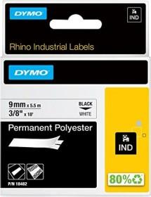 Dymo ID1 permanent Industrial Rhino Pro labelling tape 9mm, black/white (18482 / 18766)