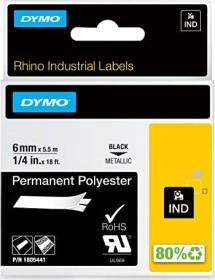 Dymo ID1 permanent Industrial Rhino Pro labelling tape 6mm, black/metallic (1805441)