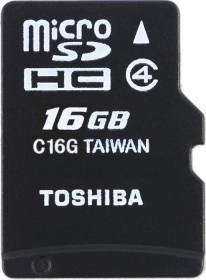 Toshiba Standard M102 R15/W5 microSDHC 16GB Kit, Class 4 (THN-M102K0160M2)