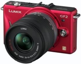Panasonic Lumix DMC-GF2 rot mit Objektiv Lumix G Vario 14-42mm OIS und Lumix G 14mm (DMC-GF2W)
