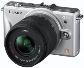 Panasonic Lumix DMC-GF2 silber mit Objektiv Lumix G Vario 14-42mm OIS und Lumix G 14mm (DMC-GF2W)