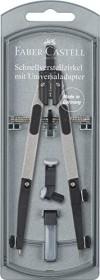 Faber-Castell Schnellverstellzirkel mit Gelenken, 4.0mm-Zapfen, Universaladapter, silber (174014)