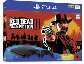 Sony PlayStation 4 Slim - 1TB inkl. 2 Controller Red Dead Redemption 2 Bundle schwarz (9758815)