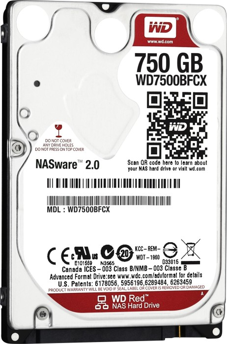 """Western Digital WD Red 750GB, 2.5"""", SATA 6Gb/s (WD7500BFCX)"""