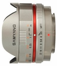Samyang lens 7.5mm 3.5 fisheye for micro Four Thirds silver