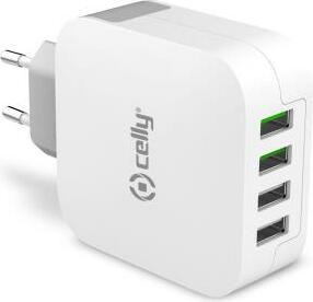 Celly Turbo Wall Charger 4.8A weiß (TC4USBTURBO)