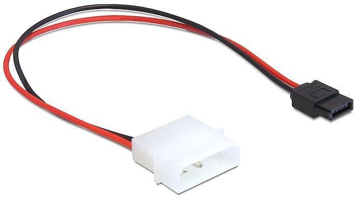 DeLOCK adapter zasilający SATA 2-Pin [IDE] na 6-Pin [SATA] 24cm, czarny/czerwony (82913)
