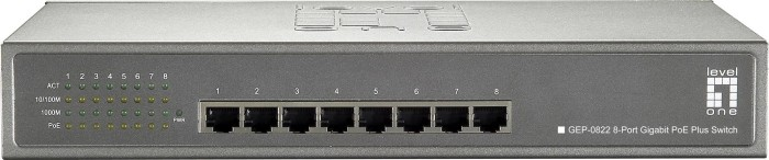 Level One GEP Desktop Gigabit Switch, 8x RJ-45, 240W PoE+ (GEP-0822/570739)