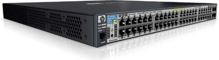 HP ProCurve 3500yl 48G Rackmount Gigabit Managed Switch, 20x RJ-45, 4x RJ-45/SFP, 1x Modul-Slot, PoE+ (J9311A)