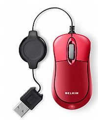 Belkin Retractable travel Mouse Jetset Red, USB