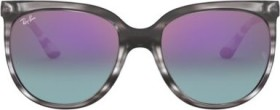 Ray-Ban RB4126 Cats 1000 57mm striped grey/blue-pink gradient mirror (Damen) (RB4126-6430T6)