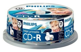 Philips CD-R 80min/700MB 52x, 25-pack Spindle printable (CR7D5JB25)