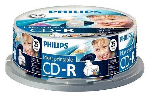 Philips CD-R 80min/700MB 52x, 25er Spindel printable (CR7D5JB25)