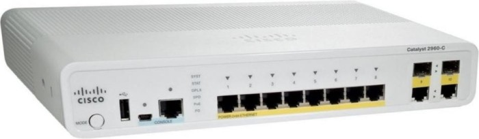 Cisco Catalyst 2960-C Compact LAN Base Desktop Managed Switch, 8x RJ-45, 2x RJ-45/SFP, 124W PoE (WS-C2960C-8PC-L)