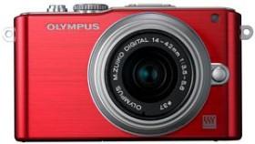 Olympus PEN E-PL3 rot mit Objektiv M.Zuiko digital 14-42mm II (V205031RE000)