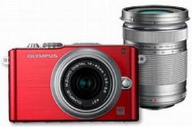 Olympus PEN E-PL3 rot mit Objektiv M.Zuiko digital 14-42mm II und M.Zuiko digital ED 40-150mm (V205032RE000)