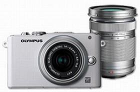 Olympus PEN E-PL3 weiß mit Objektiv M.Zuiko digital 14-42mm II und M.Zuiko digital ED 40-150mm (V205032WE000)