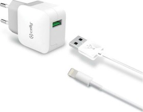 Celly Turbo Wall Charger 2.4A + Lightning Cable weiß (TCUSBLIGHT)