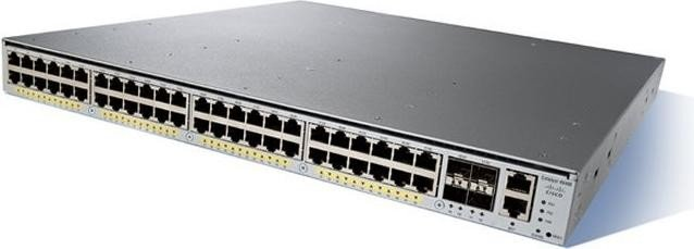 Cisco Catalyst 4948E IP Base Rackmount Gigabit Managed Switch, 48x RJ-45, 4x SFP+, Back to Front Airflow (WS-C4948E-F-S)