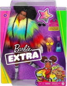 Mattel Barbie Extra Doll #1 in Rainbow Coat with Pet Poodle (GVR04)