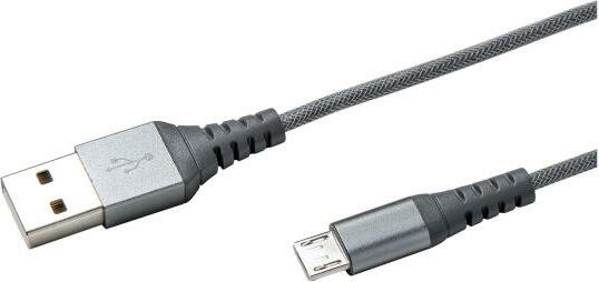 Celly Nylon Micro USB Cable 1.0m silber (USBMICRONYLSV)