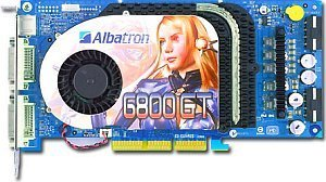 Albatron 6800GT, GeForce 6800 GT, 256MB GDDR3, 2x DVI, TV-out, AGP